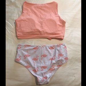 SHEIN Swim - Knot Front Top With Flamingo Print Bikini - Medium